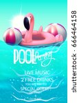 pool party poster with... | Shutterstock .eps vector #666464158