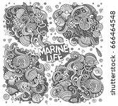 line art vector hand drawn... | Shutterstock .eps vector #666464548