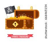 opened pirate treasure chest... | Shutterstock .eps vector #666465154