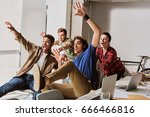 cheerful creative team are... | Shutterstock . vector #666466816