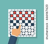 checkers game. chess player... | Shutterstock .eps vector #666467620