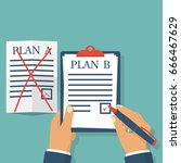 plan b. businessman hold...   Shutterstock .eps vector #666467629