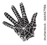black hand with the web. the... | Shutterstock .eps vector #666467986
