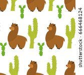 seamless pattern with llamas...   Shutterstock .eps vector #666468124