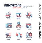 bank cards   modern vector line ... | Shutterstock .eps vector #666470470