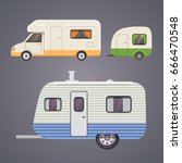 retro camper trailer collection.... | Shutterstock .eps vector #666470548