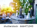 wine bottles set in bucket  nyc ... | Shutterstock . vector #666471343