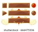 cartoon vector title wood... | Shutterstock .eps vector #666475336