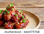 deep fried chicken wings or... | Shutterstock . vector #666475768