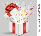 opened gift box with shining... | Shutterstock .eps vector #666479404