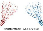 exploding party popper with... | Shutterstock .eps vector #666479410