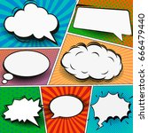 comic book page template in pop ...   Shutterstock .eps vector #666479440