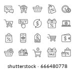 shopping line icons. gifts ... | Shutterstock .eps vector #666480778