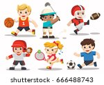 team sports for kids including... | Shutterstock .eps vector #666488743
