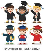 set of diverse college or... | Shutterstock .eps vector #666488824