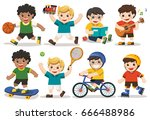 set of adorable boys activity ... | Shutterstock .eps vector #666488986