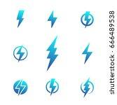 lightning bolt signs ... | Shutterstock .eps vector #666489538