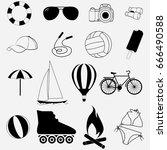 set of summer logos of icons.... | Shutterstock .eps vector #666490588