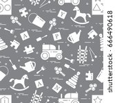 cute seamless pattern with... | Shutterstock .eps vector #666490618