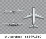 high detailed white airplane on ... | Shutterstock .eps vector #666491560
