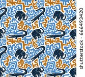 vector seamless pattern with... | Shutterstock .eps vector #666493420