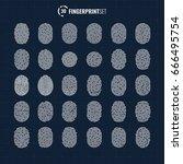 big vector fingerprint icons... | Shutterstock .eps vector #666495754