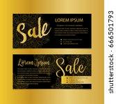 golden banners. gold text. gift ... | Shutterstock .eps vector #666501793