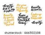 set of beauty quotes.  hand... | Shutterstock .eps vector #666502108