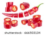 sliced chili pepper. cut red... | Shutterstock . vector #666503134