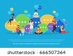 speech bubbles for comment and... | Shutterstock .eps vector #666507364