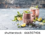 moscow mule cocktail in copper...   Shutterstock . vector #666507406