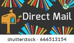 direct mail dark colorful... | Shutterstock . vector #666513154
