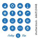 nautical sailing icon collection | Shutterstock .eps vector #666513448