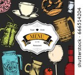restaurant menu design. vector... | Shutterstock .eps vector #666514204