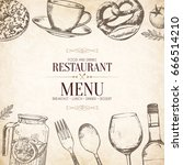 restaurant menu design. vector... | Shutterstock .eps vector #666514210