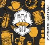 restaurant menu design. vector... | Shutterstock .eps vector #666514234