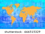 blue and yellow world map | Shutterstock . vector #666515329