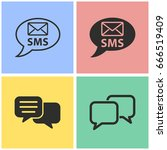 sms vector icon with long... | Shutterstock .eps vector #666519409