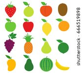 fresh fruit icon collection set ... | Shutterstock .eps vector #666519898