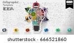 vector lamp cog   brainstorm... | Shutterstock .eps vector #666521860