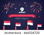 9 august. singapore...   Shutterstock .eps vector #666526720
