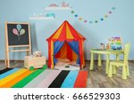 interior of colorful playing... | Shutterstock . vector #666529303