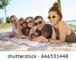group of fun young friends with ... | Shutterstock . vector #666531448