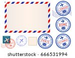 collection of postal elements.... | Shutterstock . vector #666531994