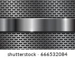 metal perforated background... | Shutterstock . vector #666532084