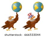 american eagle in the patriotic ...   Shutterstock .eps vector #666533044