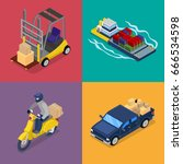 isometric delivery concept.... | Shutterstock .eps vector #666534598