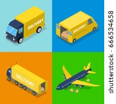 isometric delivery concept. air ... | Shutterstock .eps vector #666534658