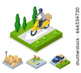 isometric delivery concept with ... | Shutterstock .eps vector #666534730
