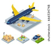 isometric delivery concept. air ... | Shutterstock .eps vector #666534748